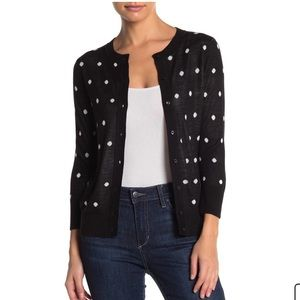 Halogen Sweater Polka Dot Buttoned Cardigan M A4